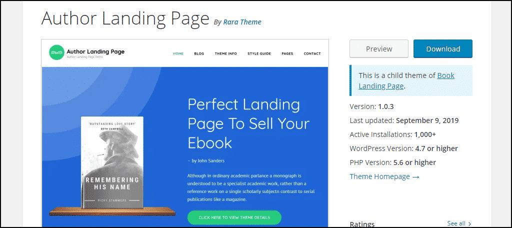 Author Landing Page WordPress theme