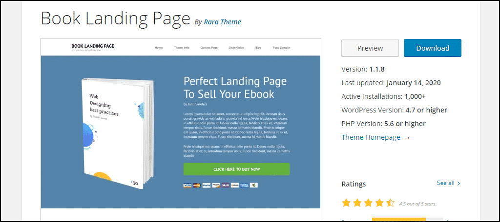 Book Landing Page WordPress theme