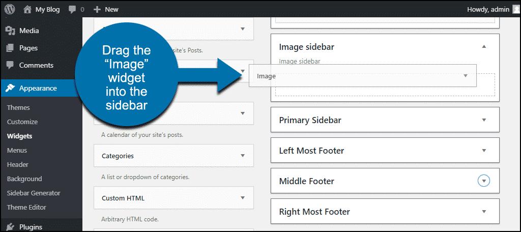 drag the image widget into the sidebar