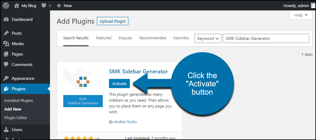 click to activate the WordPress SMK Sidebar Generator plugin