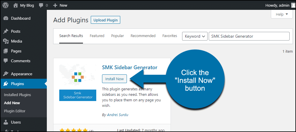 click to install the WordPress SMK Sidebar Generator plugin