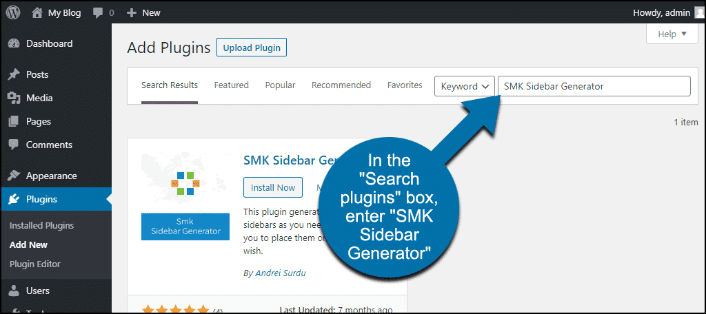 search for the WordPress SMK Sidebar Generator plugin