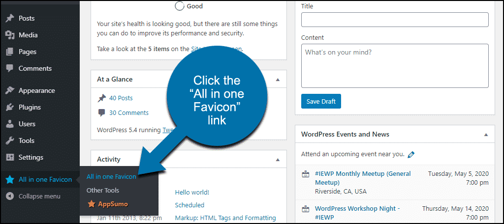 """click the """"All in one Favicon"""" link"""