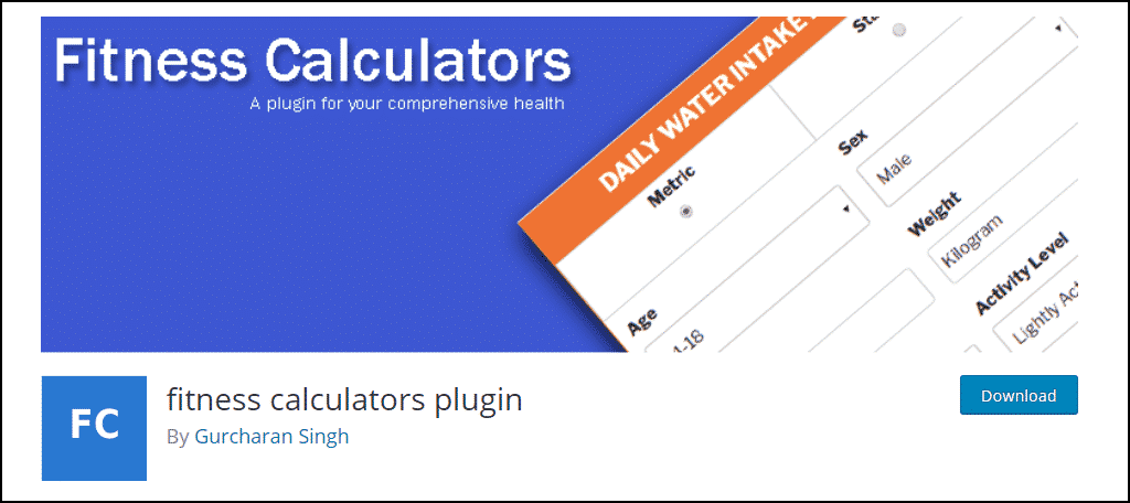 fitness calculators WordPress plugin