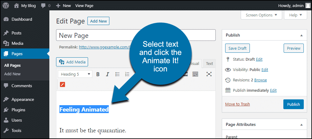 select the header text and click the Animate It! icon