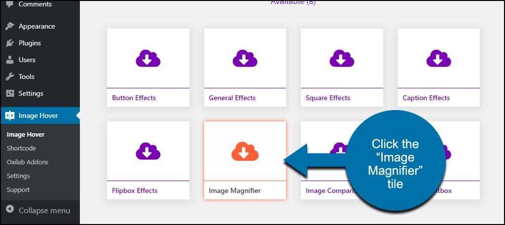 "click the ""Image Magnifier"" tile"