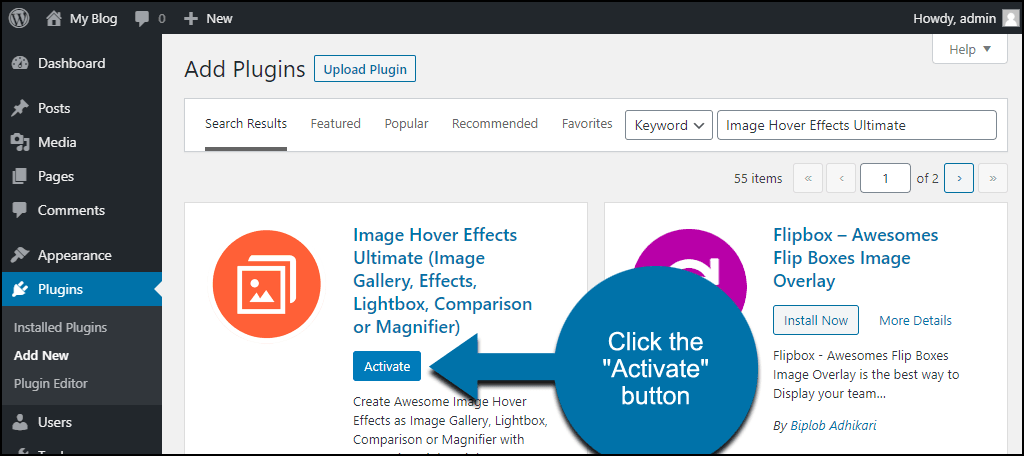 click to activate the WordPress Image Hover Effects Ultimate plugin