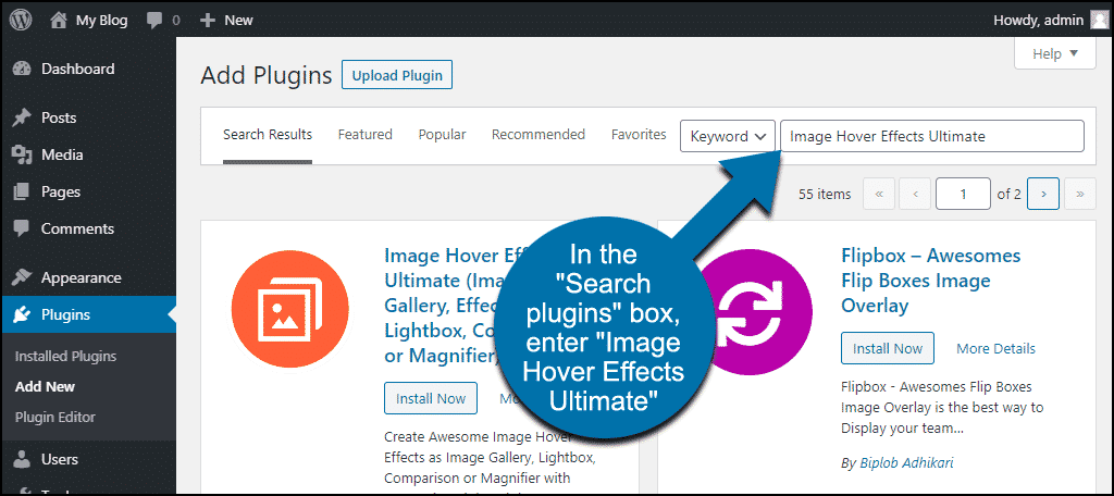 search for the WordPress Image Hover Effects Ultimate plugin