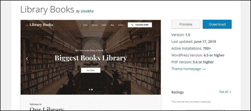 Library Books WordPress theme