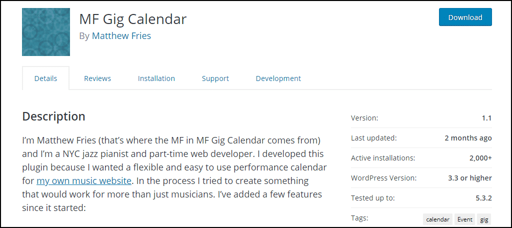 MF Gig Calendar WordPress plugin