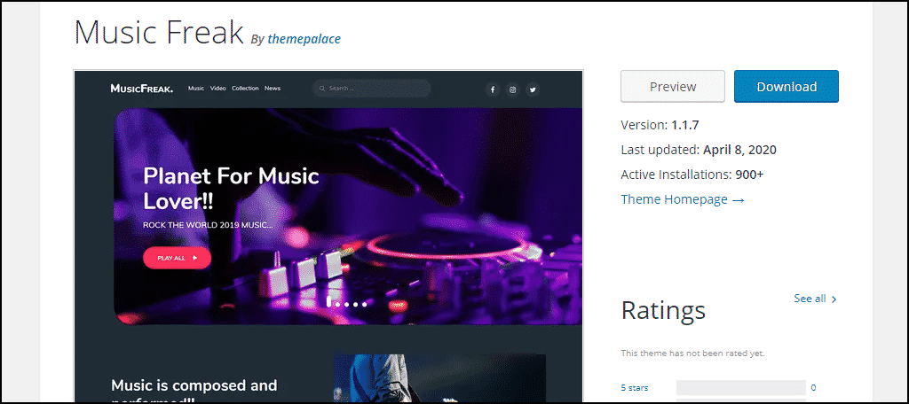 Music Freak WordPress theme