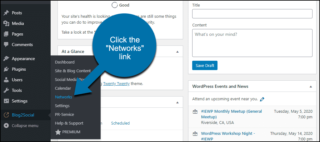 """click the """"Networks"""" link"""