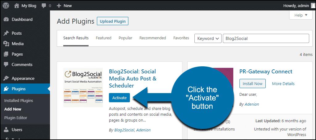 click to activate the WordPress Blog2Social plugin