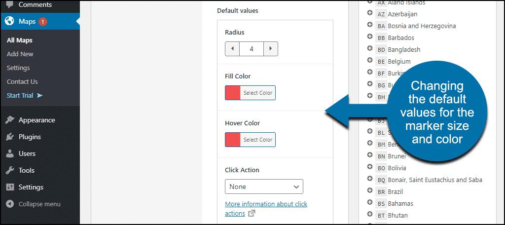 change marker default values