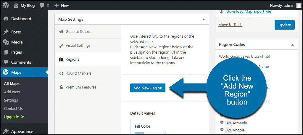 """click the """"Add New Region"""" button"""