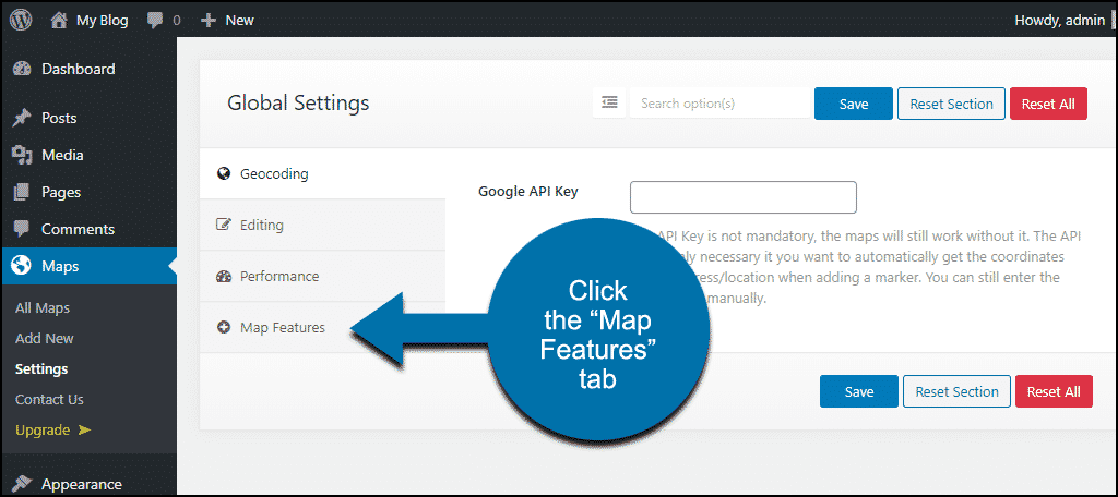 "click ""Map Features"" tab"