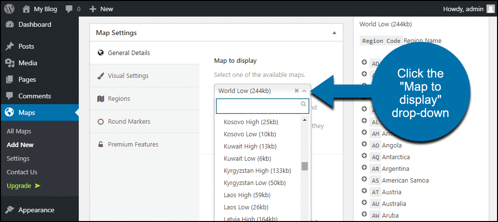 "click the ""Map to display"" drop-down"