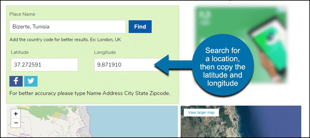 latitude and longitude lookup site