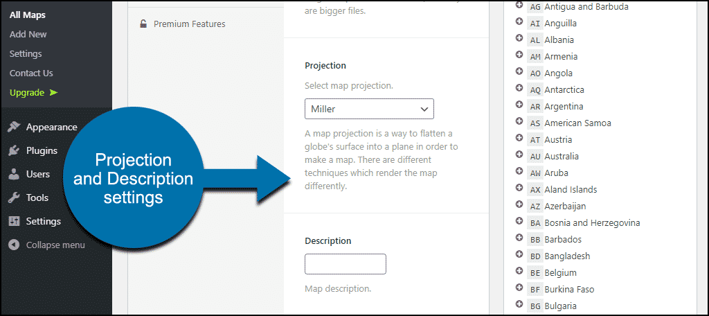 projection and description settings