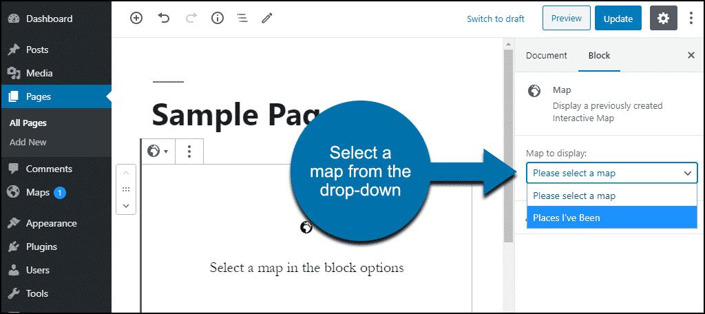 map block choose map to display