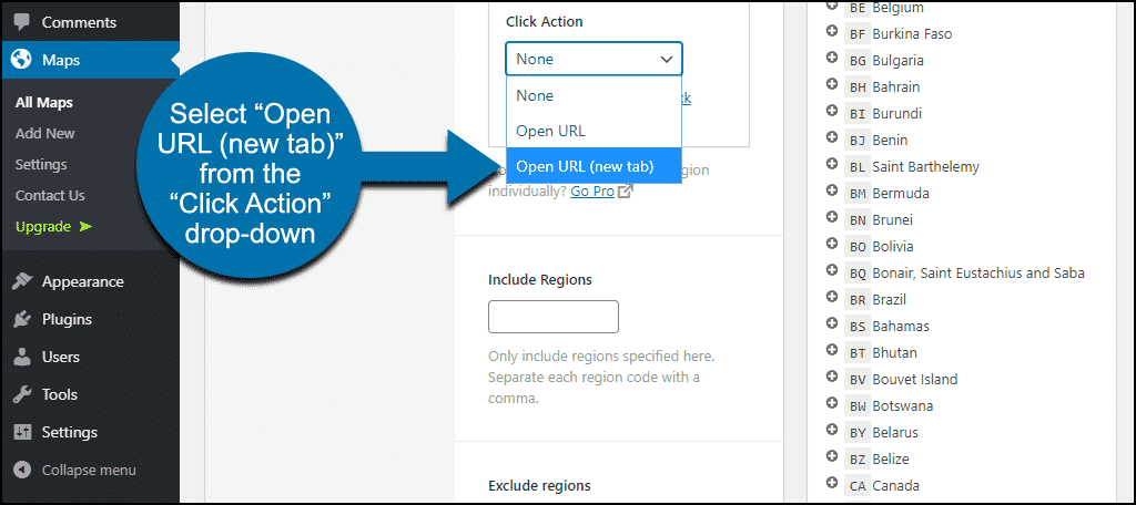 "set click action to ""Open URL (new tab)"""