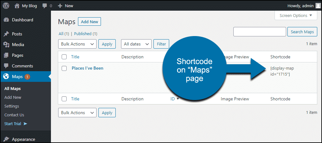 shortcode on maps page