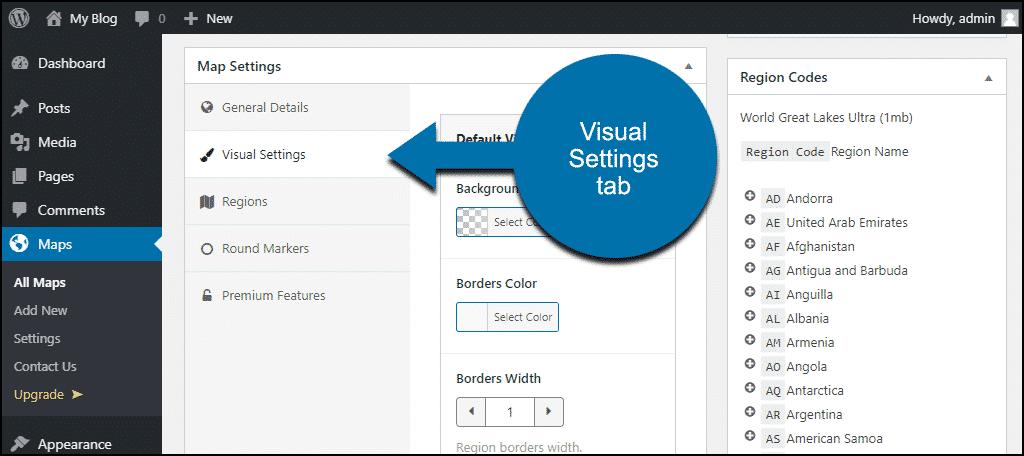 visual settings tab