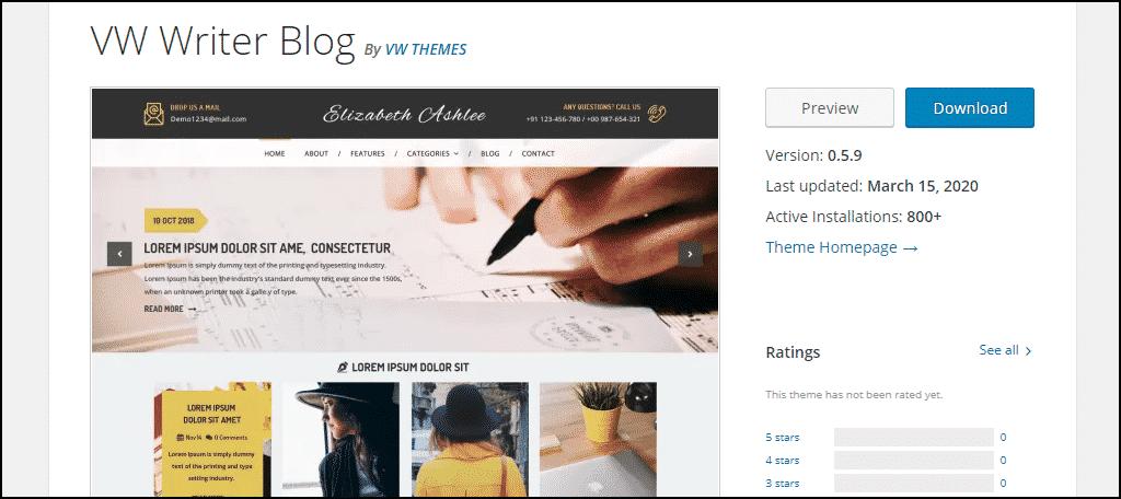 VW Writer Blog WordPress theme