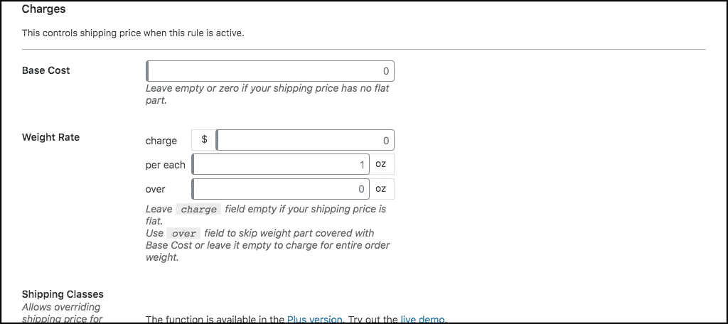 Weight based shipping charge settings