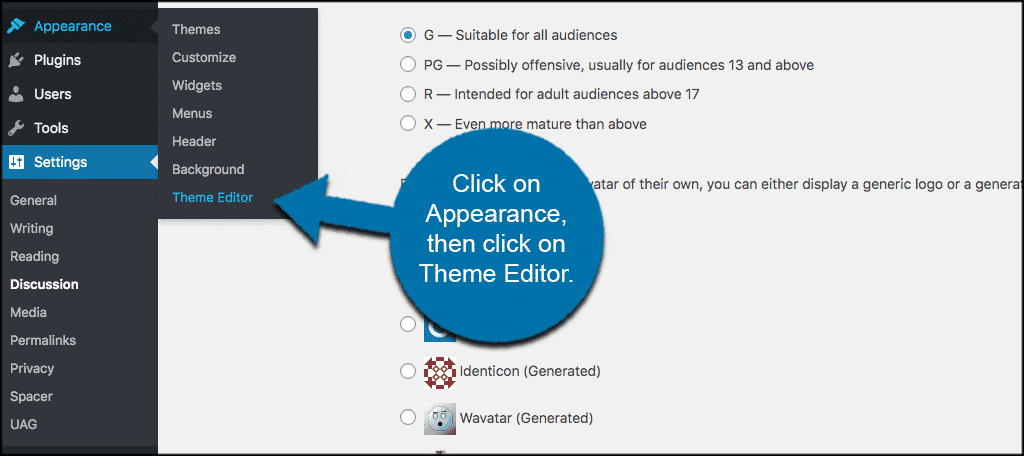 Click on appearance then theme editor
