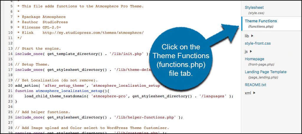 Click on the theme funstions functions.php tab