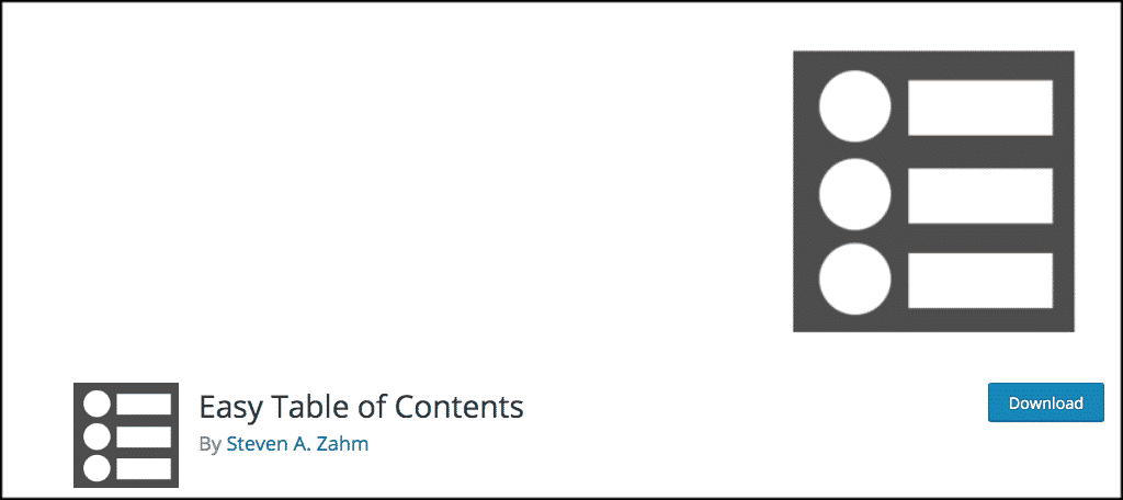 Easy table of contents plugin