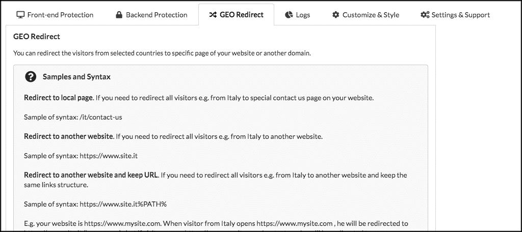 GEO redirect