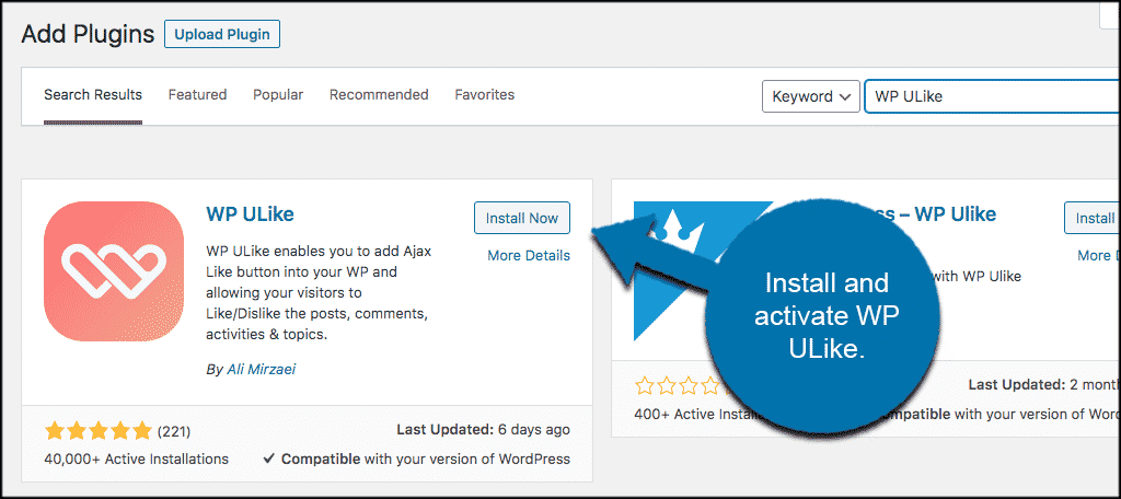 Install and activate like button plugin