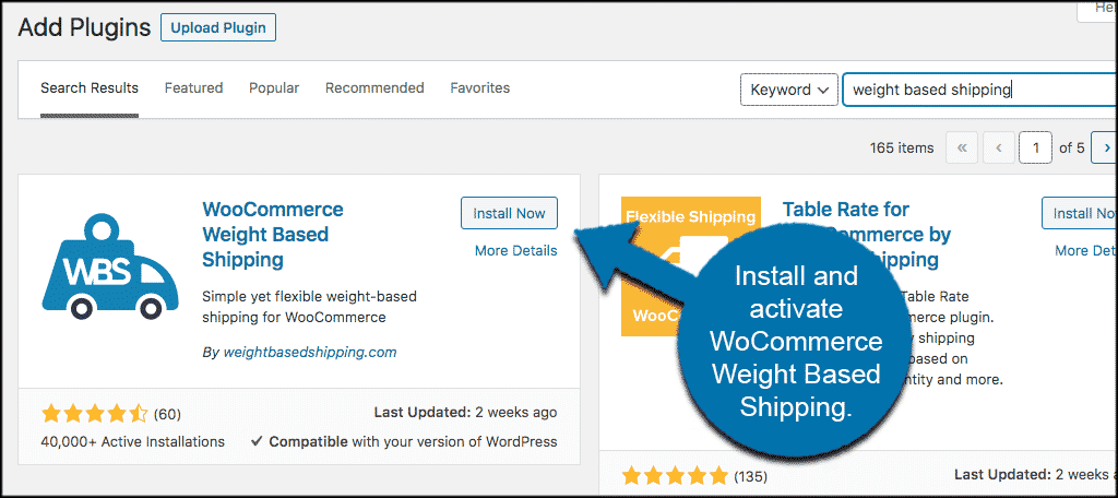 Install and activate weight based shipping