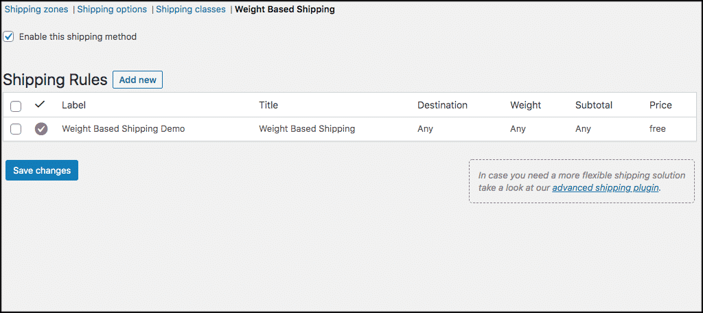 New weight based shipping rule
