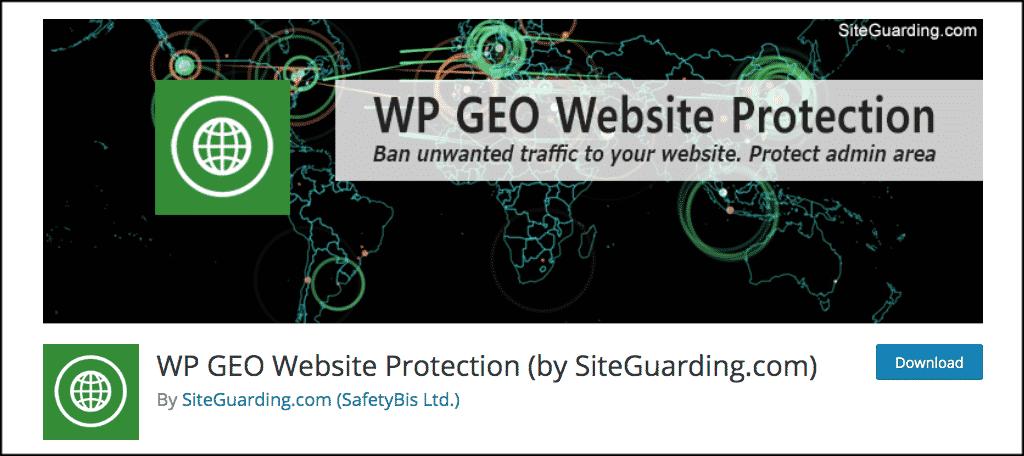 WP GEO website protection plugin
