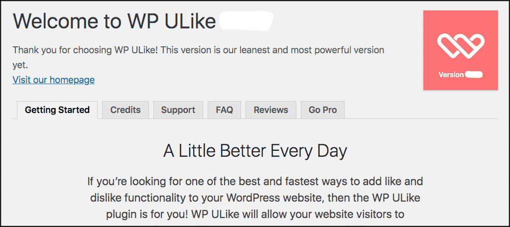 Like button plugin welcome page