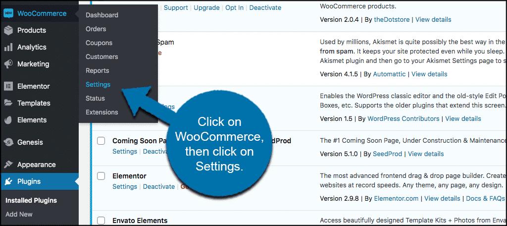 Click woocommerce then settings