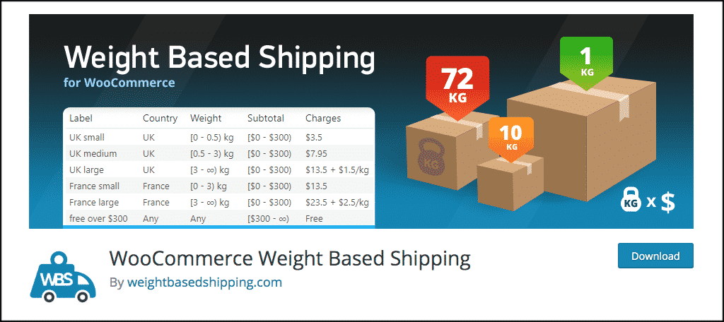 WooCommerce weight based shipping plugin