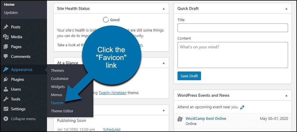 """click the """"Favicon"""" link"""