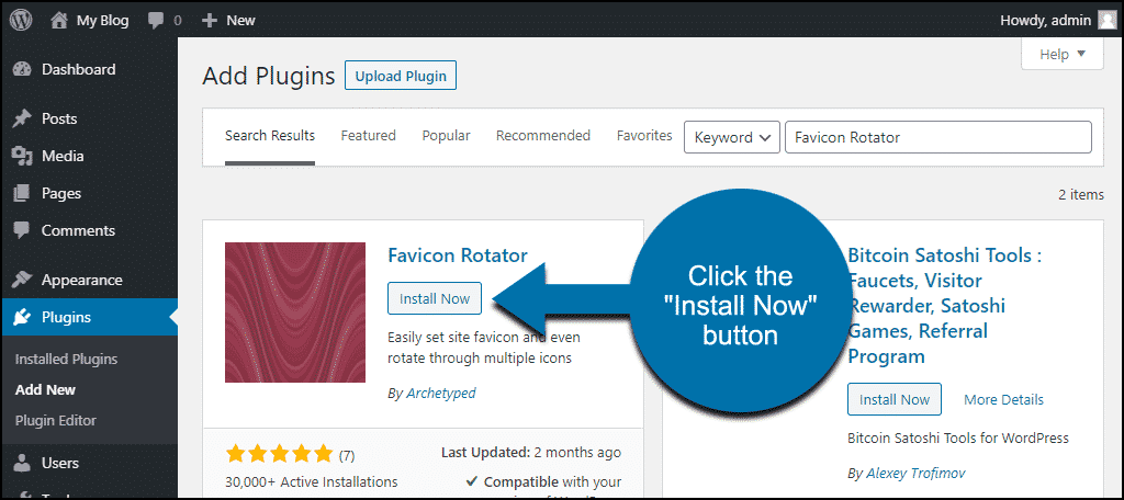 click to install the WordPress Favicon Rotator plugin