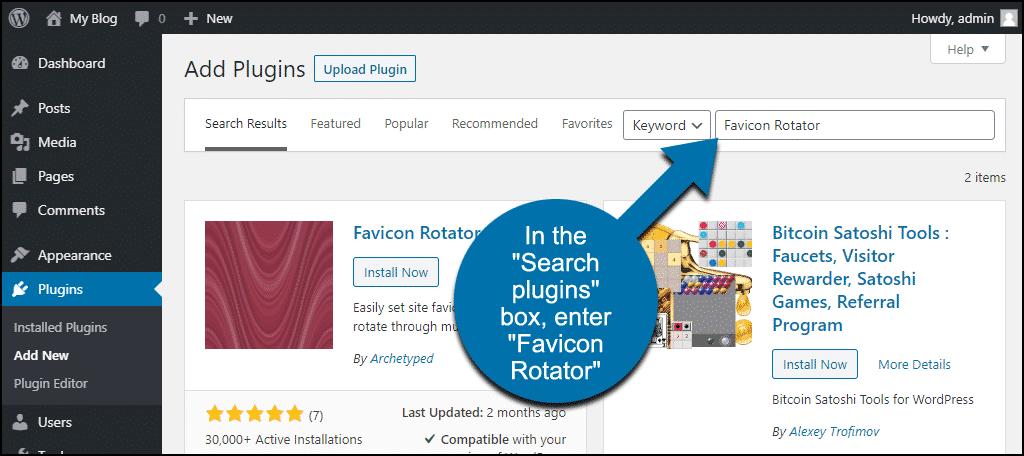 search for the WordPress Favicon Rotator plugin