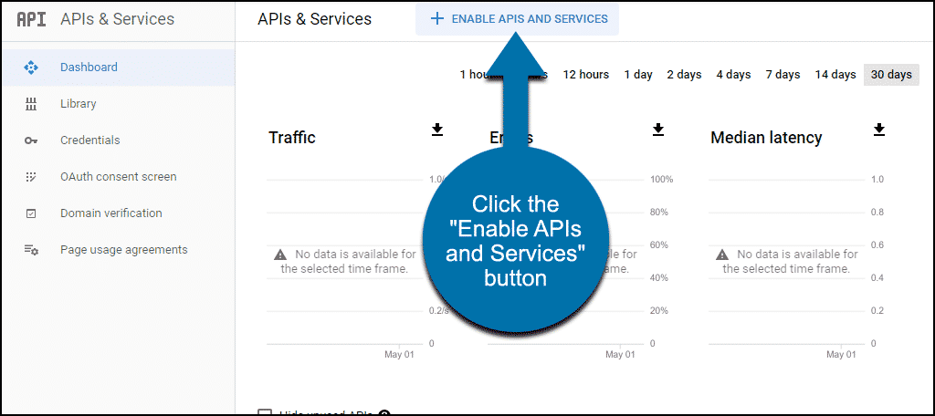 "click the ""Enable APIs and Services"" button"