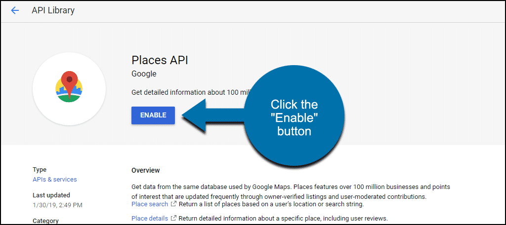 "click the ""Enable"" button"