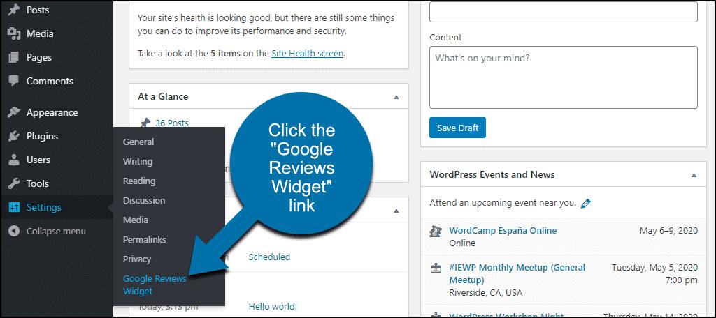 "click the ""Google Reviews Widget"" link"