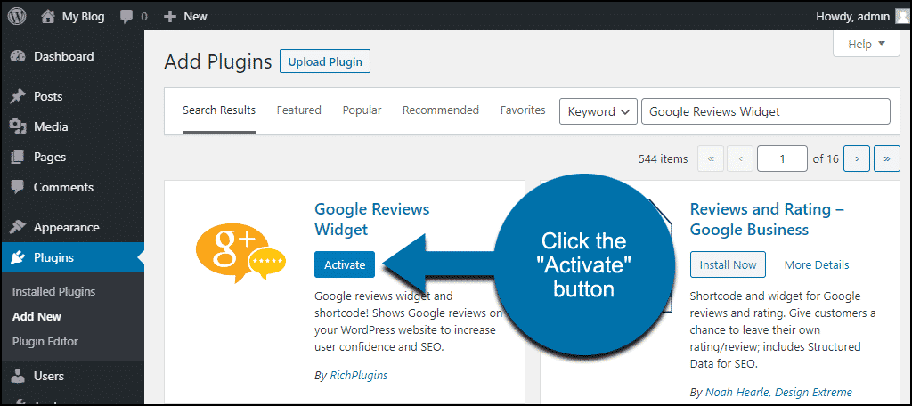 click to activate the WordPress Google Reviews Widget plugin