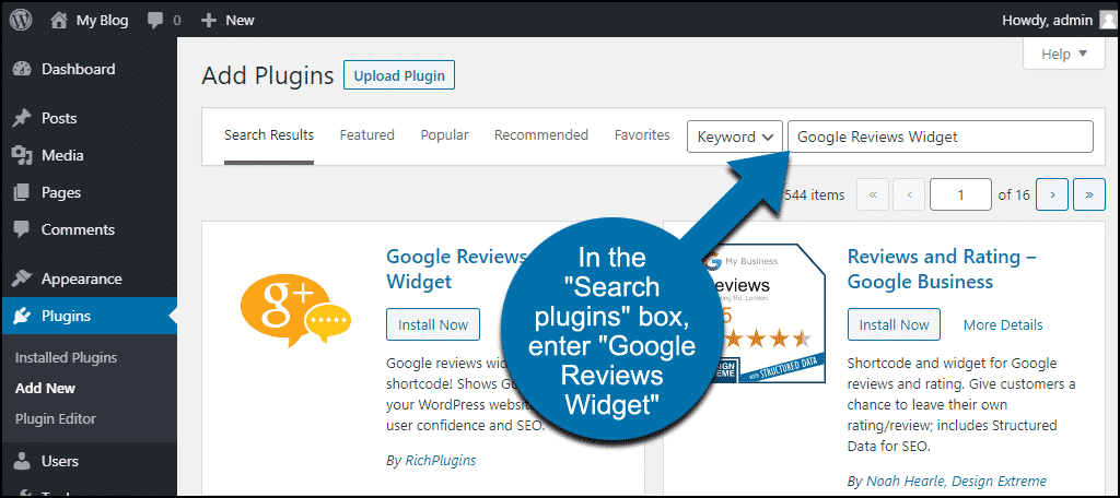 search for the WordPress Google Reviews Widget plugin
