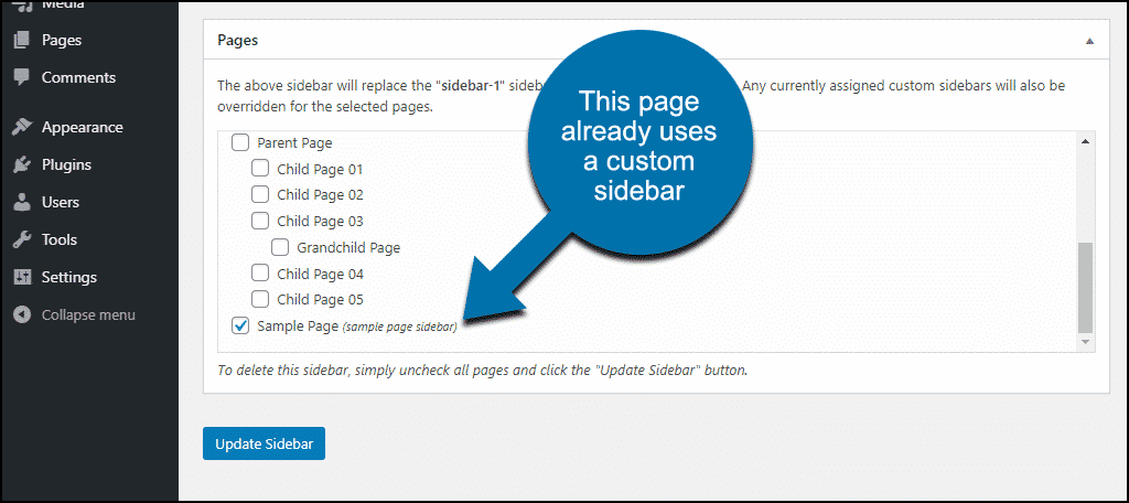 selecting a page that already uses a custom sidebar