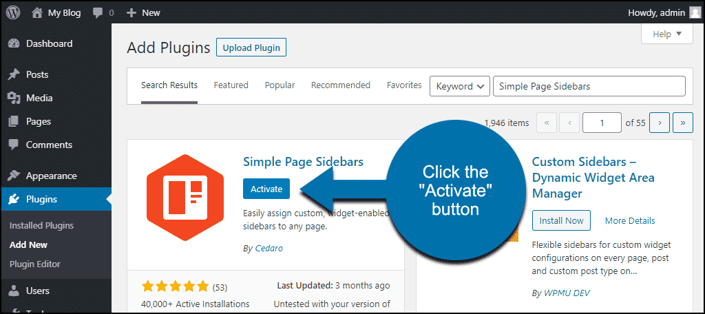 click to activate the WordPress Simple Page Sidebars plugin